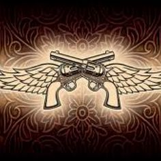 Tramp stamp with hemenway above and stars shooting out of the guns