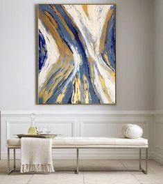 Décorez vos murs avec élégance: Peinture originale et unique sur toile XXL, une création unique par Vanessa Peka, artiste-peintre parisienne. Découvrez ses oeuvres: http://etsy.me/2iZfc3S #art #peinture #or #tableau #noel #bleu #salon #chambre #mur #decoration #abstrait