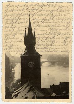 """the-holocaust: """" Photograph of the water tower of the Old Town Mills in Prague. After her deportation to the Theresienstadt ghetto in Czechoslovakia, Helene Reik yearned to record what was happening. Prague, Historical Artifacts, Lest We Forget, Visual Diary, Water Tower, History Photos, Art Journal Pages, Illustrations, Cool Pictures"""