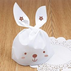 50X Bunny White Rabbit Ear Biscuit Cookie Flat Bags Food Cake Packing Gift Bags