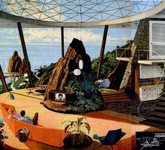 What did the future look like from the See some modernist-style retro futuristic home concepts that captured the midcentury era's sleek style and space-age optimism. Mid Century Art, Mid Century House, Mid Century Design, Mid-century Interior, Modern Interior Design, Magazine Deco, Design Magazine, Illustrations Vintage, Futuristic Home