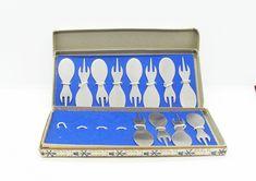 Vintage Set of 6 Silver Demitasse Spoons /& matching Sugar Tongs by Brodrene Mylius of NORWAY