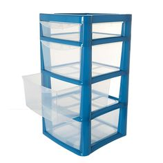 designed with four clear drawers this storage tower is crafted from durable plastic and is available in a choice of colours