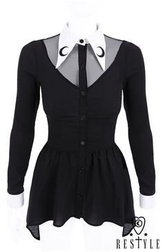 """""""LUNA SHIRT"""" Black shirt with basquine, White, long collar with crescent embroidery"""