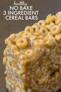 Healthy No Bake 3 Ingredient Cereal Bars- Ready in just FIVE minutes, these no bake snack bars have NO butter, oil, sugar or marshmallows and are SO delicious! {vegan, gluten free, dairy free recipe}- thebigmansworld.com