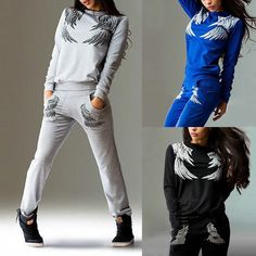Women Sport Suit Sets Tracksuit Sweatshirt Pants SportWear Gym Suits GIFT in Clothing, Shoes & Accessories, Women's Clothing, Sweats & Hoodies Full Tracksuit, Casual Suit, Sweater Set, Sport Wear, Hoodies, Sweatshirts, Sports Women, Blazer Suit, Fit Women