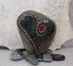 Heart Shaped Copper and Tempered Glass - Mosaic Rock Paperweight / Garden Stone.