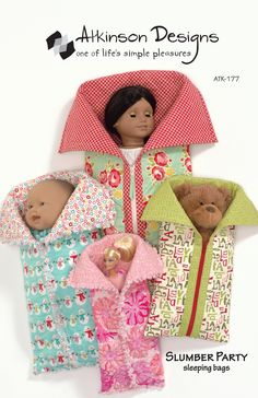 Slumber Party Sleeping Bags By Atkinson, Terry  - Playtime friends are all snuggled up in cozy sleeping bags, ready for a camp-out or slumber party! 4 sizes  Sizes: Large (fits 18in Doll) 11in x 21-1/2in, Medium (fits 15in Doll) 9-1/2in x 91/2in, Small (fits 12in Doll) 7in x 14-1/2in, Slim (fits 12in fashion doll 6in x 15-1/2in.