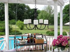 outdoor chandelier out of indoor thrift store brass chandelier
