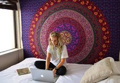 Buy purple plum and bow medallion mandala hippie tapestry bohemian wall hanging bed cover at Royal Furnish at best price. Shipping worldwide USA, UK, Canada, Australia & Europe.