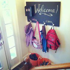 Entryway chalkboard/coat hooks
