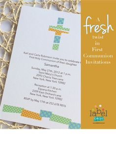 Patchwork trends also hit the stationery world. Check out this modern and fresh invitation for a spring or summer religious event! http://www.labelcircus.com/collections/religious-invitations-cards/products/first-communion-patchwork-card-2