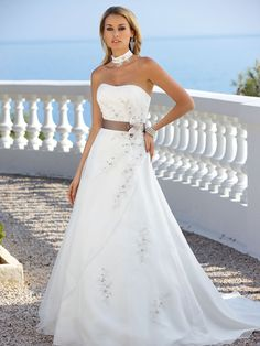6d30eb8f48 Ladybird Wedding Dress Style 33047 Ivory-Silver with Cappuccino Belt