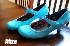 How to spray paint shoes! These were black before. Spray paint the special shoes she has to wear Spray Paint Shoes, Diy Spray Paint, Spray Painting, Old Shoes, Painted Shoes, Diy Fashion, Modest Fashion, Fashion Ideas, Diy Clothes