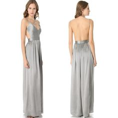 Sexy Women Plunge Backless Empire Cut Out Pleated Long Floor Prom Formal Dress C | eBay