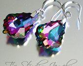 Crystal Clear Round Rivoli Rhinestone Bridal Earrings by TZTUDIO