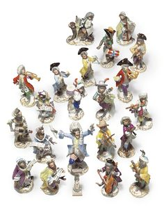 A Meissen Porcelain Twenty-One Piece Monkey Band (Affenkapelle)