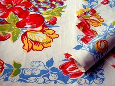 Love the colors of this vintage table cloth. Decorate with Vintage Trim, Shelving Paper, Wallpaper, and Textiles - Kitchen | Notes From the Lane