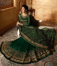Dark Green & Gold Designer Embroidered Georgette Party Wear Anarkali S – Saira's Boutique Indian Lehenga, Indian Wedding Lehenga, Green Lehenga, Bridal Lehenga Choli, Indian Bridal Outfits, Pakistani Bridal Dresses, Indian Designer Outfits, Indian Dresses, Lehenga Choli Designs