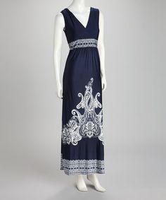 Take a look at this Navy Embellished Surplice Maxi Dress by Just Love on #zulily today!