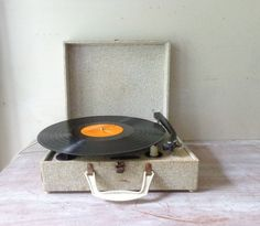 Vintage Portable Record Player  by thefoxandthespoon