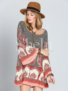 Multicolor Antique Long Sleeve Vintage Print Dress 16.99