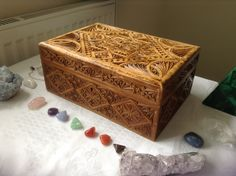 Reiki box. Write your wishes, put them in here and send Reiki to the box as often as you can. Magnified by crystals.