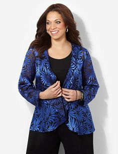 We created a complementary, two-piece duet top to pair with black pants or a sleek skirt. A silky, satin fern print in a semi-sheer burnout design creates an exotic look on the long-sleeve jacket. Cascading openfront. Solid scoopneck tank underneath. Catherines tops are designed for the plus size woman to guarantee a flattering fit. catherines.com
