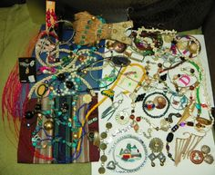 VINTAGE JEWELRY LOT WITH STAND PLUS BAG INCLUDED - GOOD, USED, PARTS, BROKEN ETC