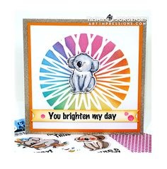 Art Impressions Blog: You Brighten My Day Card by Tasha Gold Glitter Paper, Pink Glitter, Happy Friday, Happy New, Distress Oxide Ink, Copic Markers, Color Card, Card Stock, Stencils
