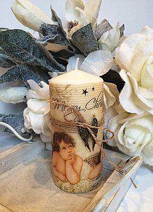 Svietidlá a sviečky - Vintage anjelska vianočná sviečka - 4780935_
