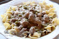 Mom's Ground Beef Stroganoff, comfort food, creamy mushroom sauce