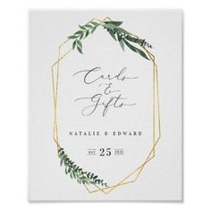 cards and gifts leafy watercolor wedding poster - gold gifts golden diy custom Green Wedding Invitations, Watercolor Wedding Invitations, Wedding Place Cards, Wedding Guest Book, Create Your Own Poster, Wedding Posters, Welcome To Our Wedding, Beautiful Posters, Geometric Wedding
