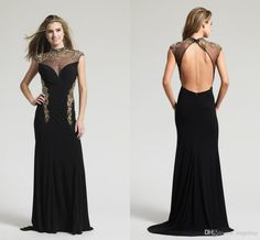 2015 Glamorous Black Evening Dresses Sheer High Collar With Gold Applique Beaded Luxury Party Dresses Backless Sexy Long Formal Gowns AH06 from Engerlaa,$142.58 | DHgate.com