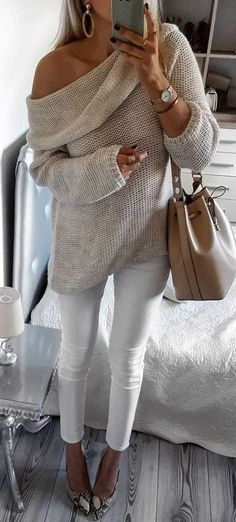 casual style perfection / one shoulder nude sweater + bag + white skinnies + heels + bag
