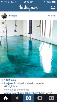 *not blue*Stained concrete. Looks like water. @ DIY Home Design. Let's stain the patio concrete! Diy Concrete Stain, Stained Concrete, Concrete Bathroom, Concrete Design, Acid Wash Concrete, Paint Cement, Concrete Dye, Concrete Shower, Concrete Porch
