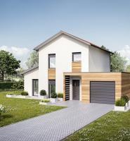 Maison à étage avec garage en toiture plate et porche d\'entrée ...