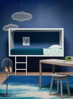 kreative Wandgestaltung mit Farbe Kinderzimmer Wandfarbe Blau