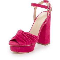 Loeffler Randall Arbella Suede Platform Sandals ($395) ❤ liked on Polyvore featuring shoes, sandals, bright fuchsia, platform sandals, strap shoes, suede shoes, loeffler randall sandals and strappy shoes