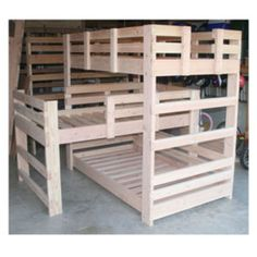 Make The Best Use Of Your Limited Space With our Custom Made Triple-Bunk-Bed with an L Shape middle bunk. In Unfinished Premium Douglas Fir. Lifetime Warranty. Fully insured and Bonded. (Most Other Companies ...