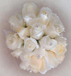 White Rose Bouquet w/crystal accents