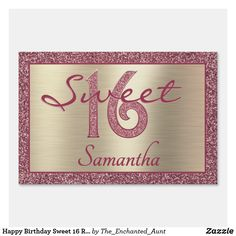 Happy Birthday Sweet 16 Rose Gold Glitter Gold Sign