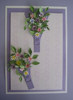 Zipper Card.  Dies used: Zipper Marianne Craftables Die CR1260 Impression Obsession Spiral Flowers Memory Box Fresh Foliage
