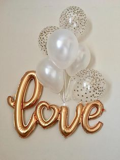 Love Gold Script Balloon Wedding Shower Decorations Bridal Shower Engagement Party Love Script Banner Gold Confetti Look Balloon Confetti By Sweetesca - Hochzeit Simple Birthday Decorations, Wedding Shower Decorations, Valentines Day Decorations, Balloon Decorations, Bridal Decorations, Bridal Shower Balloons, Wedding Balloons, Engagement Balloons, Fete Halloween