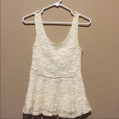 Cream knitted peplum top(firm price) Never worn Tops Tank Tops