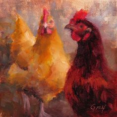 """Moe and Aunt-Bea"" - Chicken Painting - Original Fine Art for Sale - © Naomi Gray"