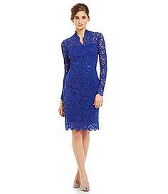 Marina LongSleeve FloralLace Dress #Dillards