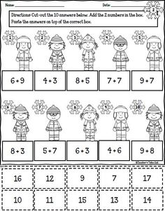Winter Math Printables of cut and paste worksheets. All worksheets are centered around 1st Grade Math Curriculum. $