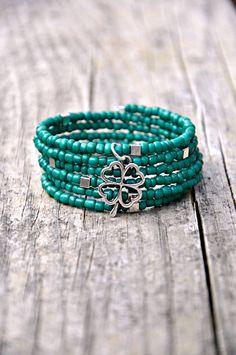 Green Shamrock Beaded Boho Wrap Bracelet by HoleInHerStocking