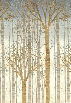 Sound of the Woods - Gentle Tree Border - Storm Gray/Silver